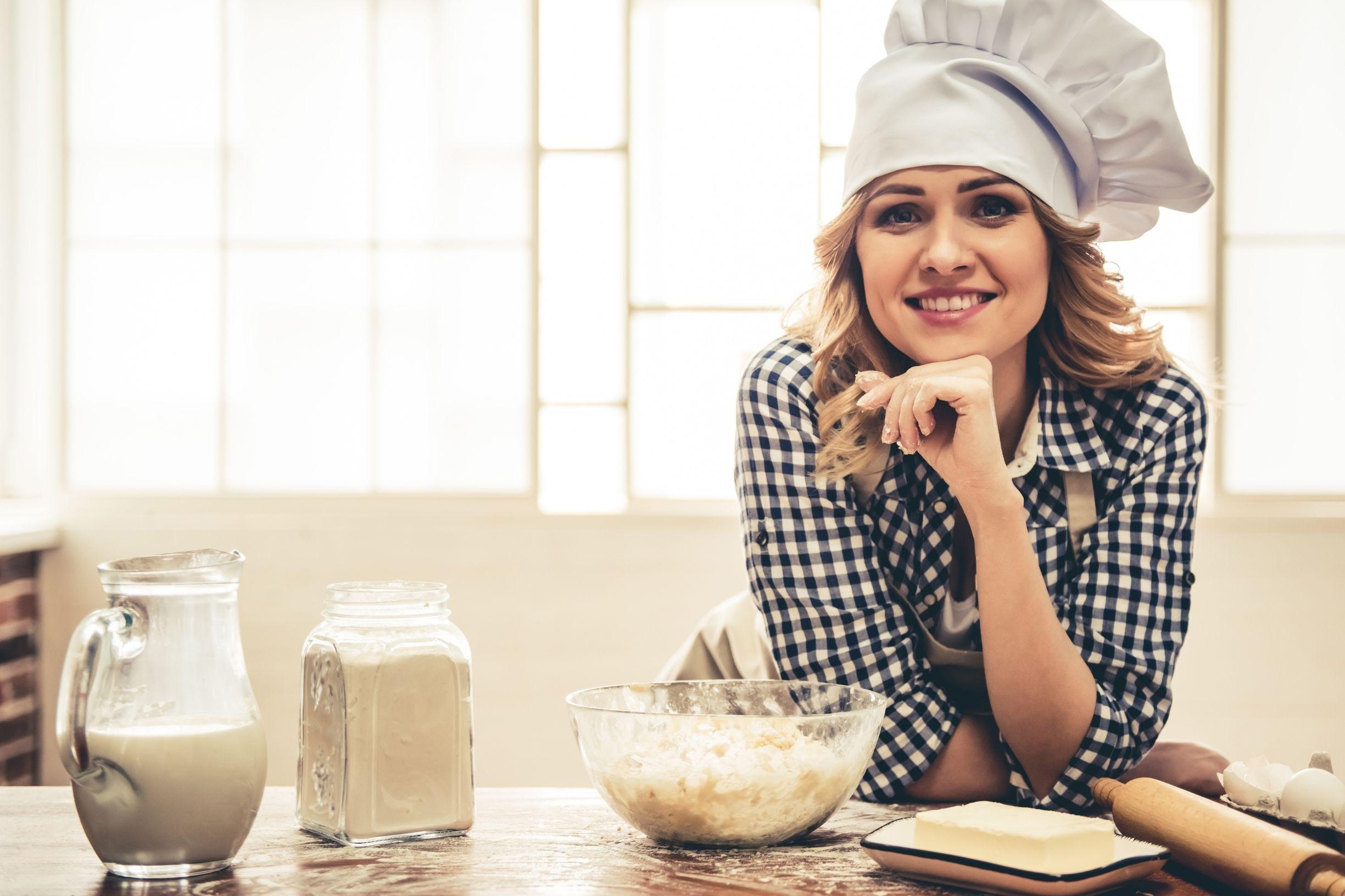 woman, baking, kitchen, fun